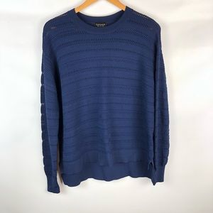 Topshop Navy Long Sleeve Top Size: 6US
